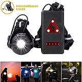 WESTLIGHT Lauflicht, wiederaufladbare USB LED Lauflampe Sport, wasserdicht Lampe zum Laufen, 500 Lumen, Einstellbarer Abstrahlwinkel, perfektes Licht zum Joggen, Angeln, Campen, Kinder und mehr