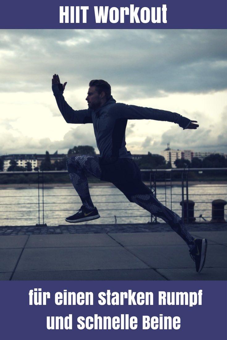 Du hast wenig Zeit und willst trotzdem etwas für deine Fitness tun? Mit diesem HIIT Workout bekommst du in kurzer Zeit einen starken Rumpf und schnelle Beine.