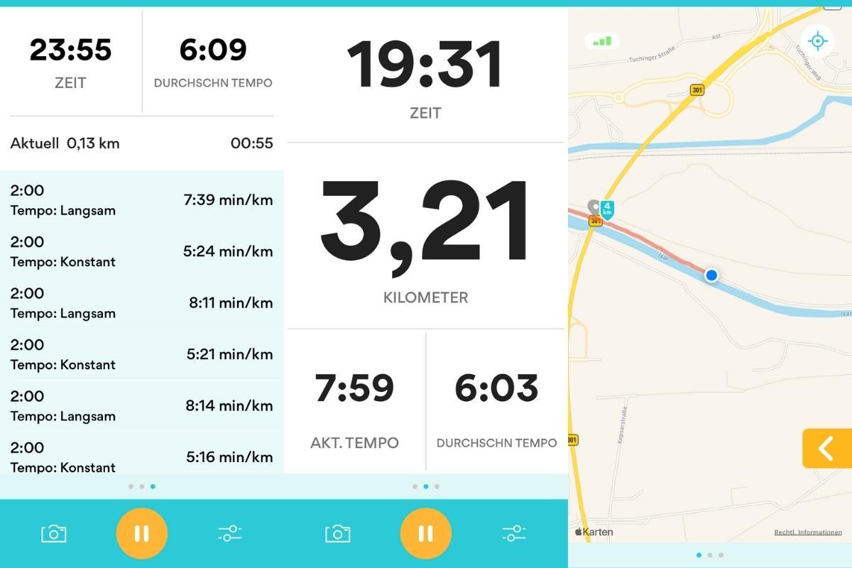 Übersicht Lauf-App Runkeeper