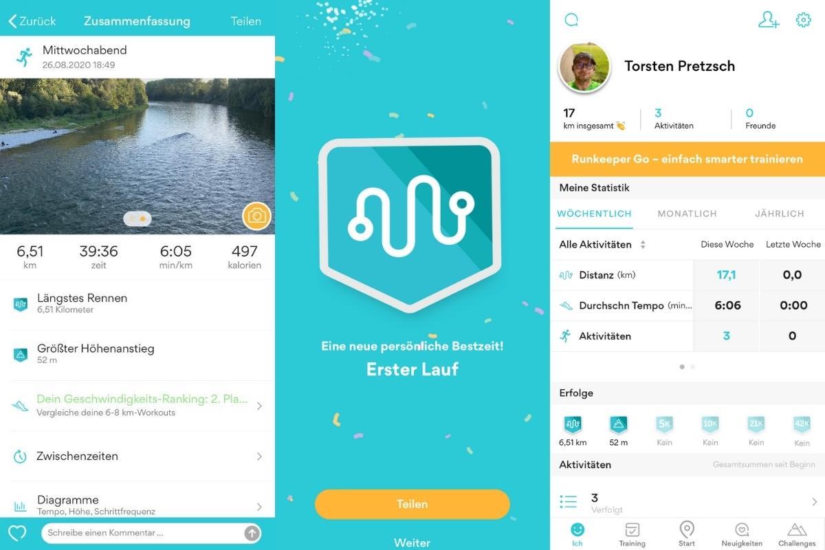 Statistik der Lauf-App Runkeeper